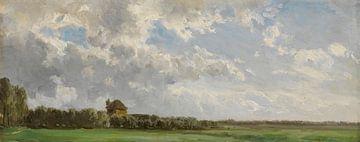 Carlos de Haes-Grasland-Landschaft, ländliche Idylle, antike Landschaft