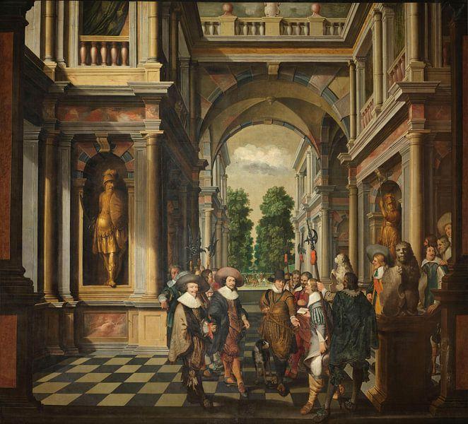 Siebenteilige, dekorative Sequenz: Eine Galerie, Dirck van Delen von Meesterlijcke Meesters