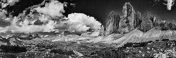 Dolomiten Panorama schwarzweiss von Denis Feiner