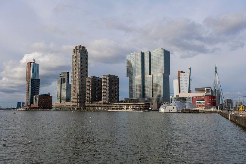 de Rotterdamse skyline kop van zuid, Nederland van Tjeerd Kruse