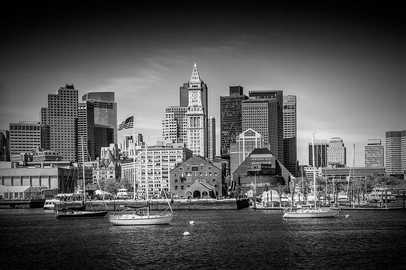 BOSTON Skyline North End en het Financial District   monochroom van Melanie Viola