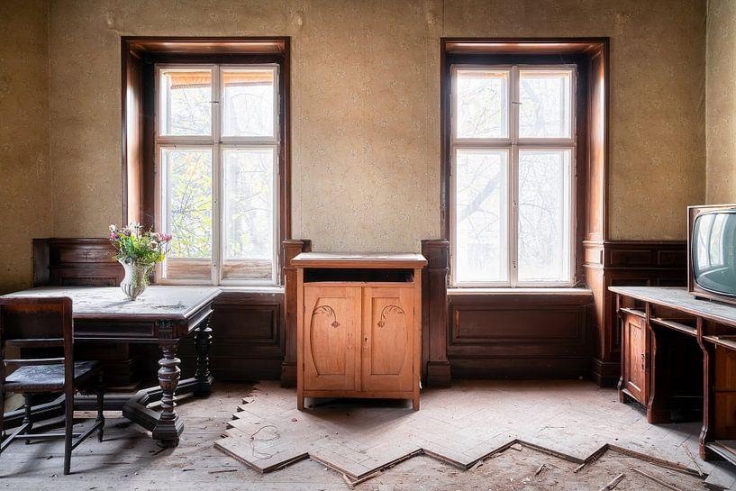 Verlassenes hölzernes Wohnzimmer. von Roman Robroek