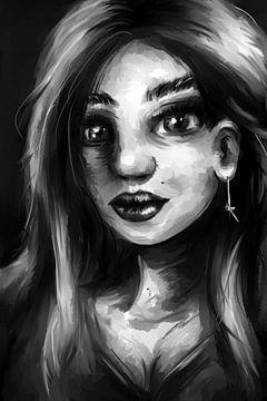 Schwarz und weiß und Grautöne - Gesicht der jungen Frau von Emiel de Lange