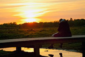 Fotografe bij zonsondergang van