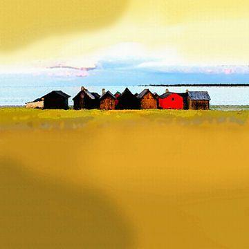 Fischerhütten in bunter Reihe von Dirk H. Wendt