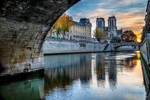 Uitzicht op de Notre Dame van onder Pont Saint Michel. van