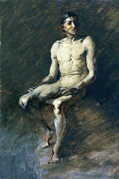 Sitzender männlicher Akt, WILHELM BUSCH, Um 1855 von Atelier Liesjes