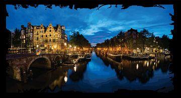 Amsterdamse Grachten bij nacht light van Gerrit Neuteboom