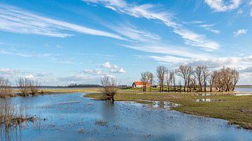 Große Scheune auf einem Hügel in geflutetem Polder von Ruud Morijn