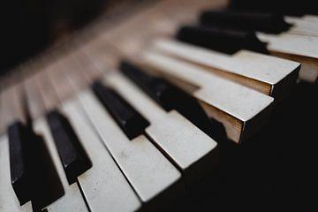 Tasten eines Klaviers in einem Schuppen in Grönland von Martijn Smeets