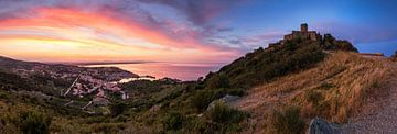 Collioure Panorama zum Sonnenuntergang von Frank Herrmann