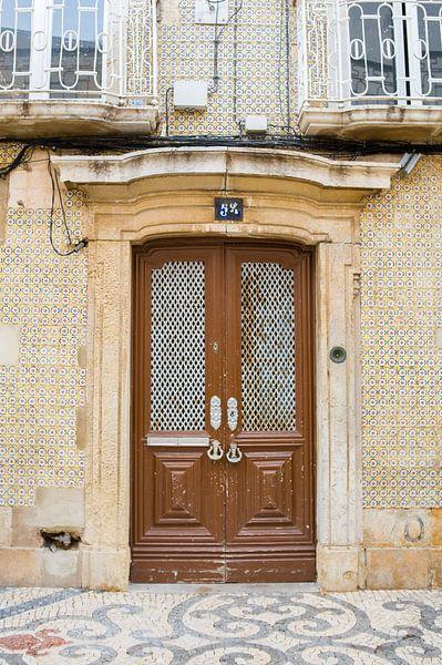De deuren van Portugal bruin omringt met Portugese tegels nummer 54 van Stefanie de Boer