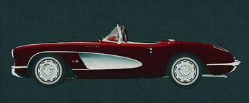Chevrolet Corvette C1 gebouwd in 1960 in profiel