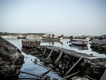 Boten in Metoni, Griekenland van Kayleigh Heppener