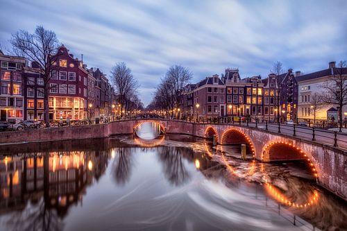 Amsterdam Keizersgracht na de zonsondergang