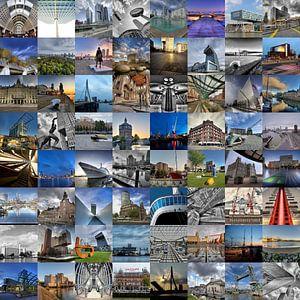 Fotocollage met alle highlights van Rotterdam van