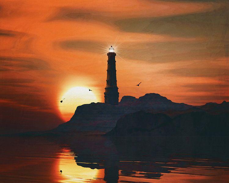 Vuurtoren met een zonsondergang en wervelende veters wolken van Jan Keteleer