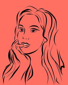 Lijntekening portret Living Coral van Lida Bruinen