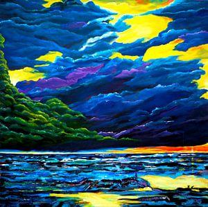 Wolken und Meer von