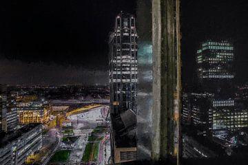 Uitzicht op Rotterdam vanaf de Calypso van Digitale Schilderijen