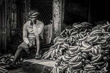 Bananenverkäufer in Schwarz-Weiß von Esther Bax