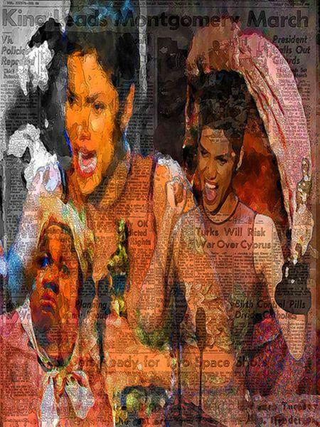 Hally Berry Pop Art Canvas van Leah Devora