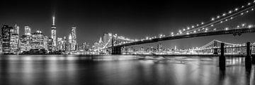 New York City Skyline 's nachts (zwart-wit) van Sascha Kilmer