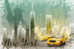 Graphic Art NEW YORK Mix No. 6   green and yellow   splashes