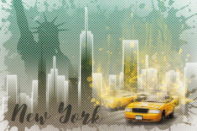 Graphic Art NEW YORK Mix No. 6   green and yellow   splashes von Melanie Viola