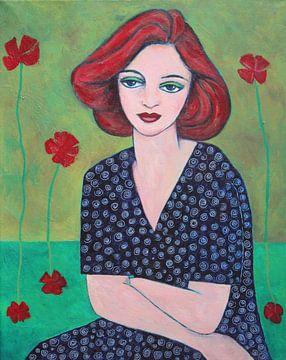 WomanRedHairAndFlowers von Lucienne van Leijen