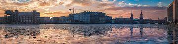 Berlin Mediaspree Panorama im Winter zum Sonnenuntergang von Jean Claude Castor