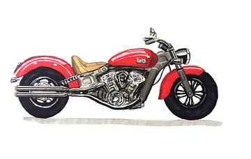 Zeichnung eines Indian Motorrads von Lonneke Kolkman