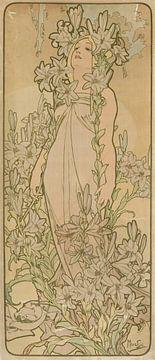 La Femme Animee en Fleur (Leie), Alphonse Mucha.