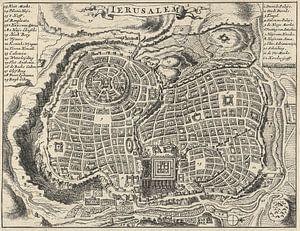 Oude kaart van Jeruzalem van omstreeks 1682