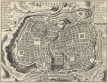 Oude kaart van Jeruzalem van omstreeks 1682 van Gert Hilbink
