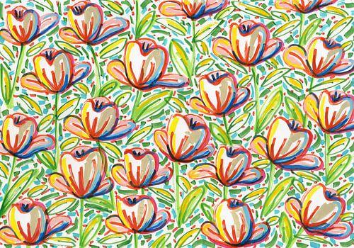 Bloemen veld van Eva van den Hamsvoort