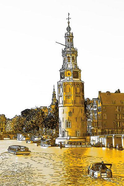 PentekeningAmstel Montelbaanstoren Amsterdam Nederland Tekening Lijntekening Goud van Hendrik-Jan Kornelis