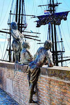 Hoorn Noord-Holland Niederlande Jungen von Kapitän Bontekoe von Hendrik-Jan Kornelis