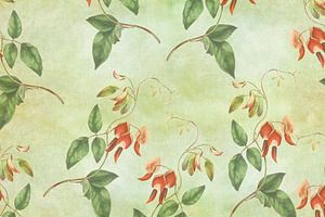 Vintage rood en groene tropische print van