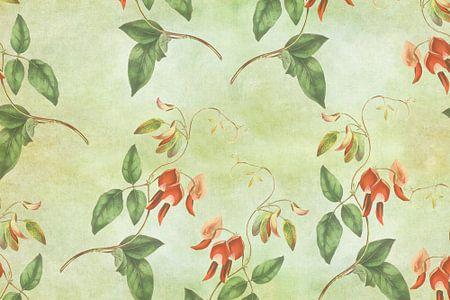 Vintage rood en groene tropische print van Prachtige Prints