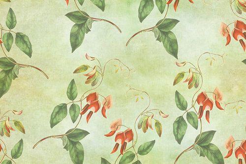 Vintage rood en groene tropische print sur Prachtige Prints