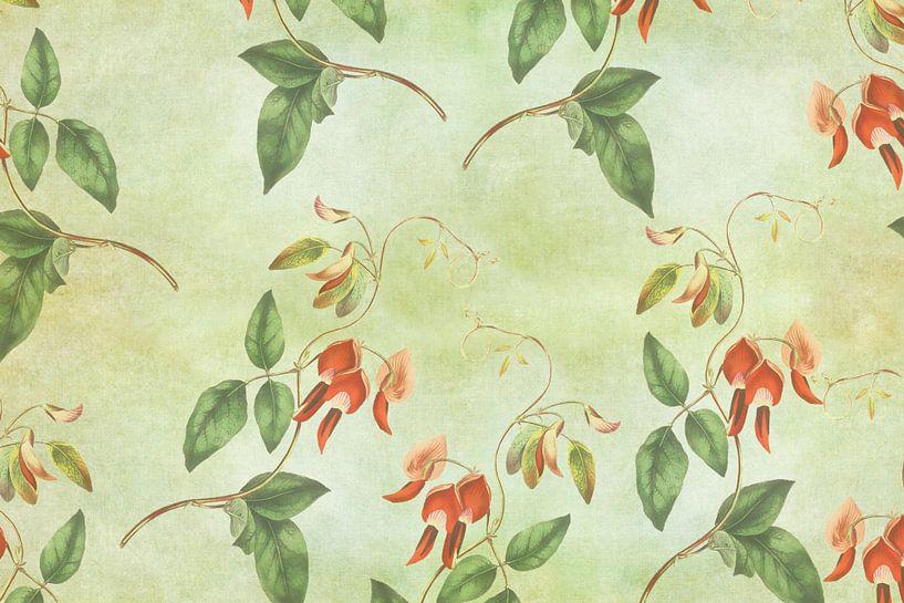 Vintage rood en groene tropische print van YOPIE illustraties