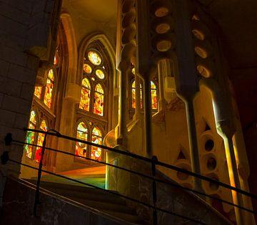 Kleurrijke trap in Sagrada Familia sur Guido Akster