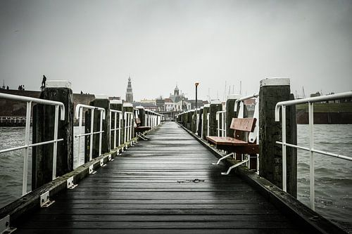 Stadsgezicht Vlissingen vanaf pier