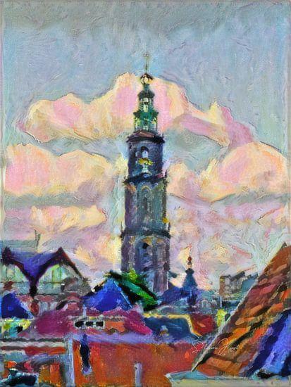 Vrolijk schilderij van de Martinitoren: de skyline van Groningen