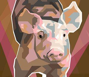 Ferkel Pop-Art-Malerei Schweinchen Babe