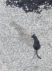 Katze und die Spinne - Zeichnung von