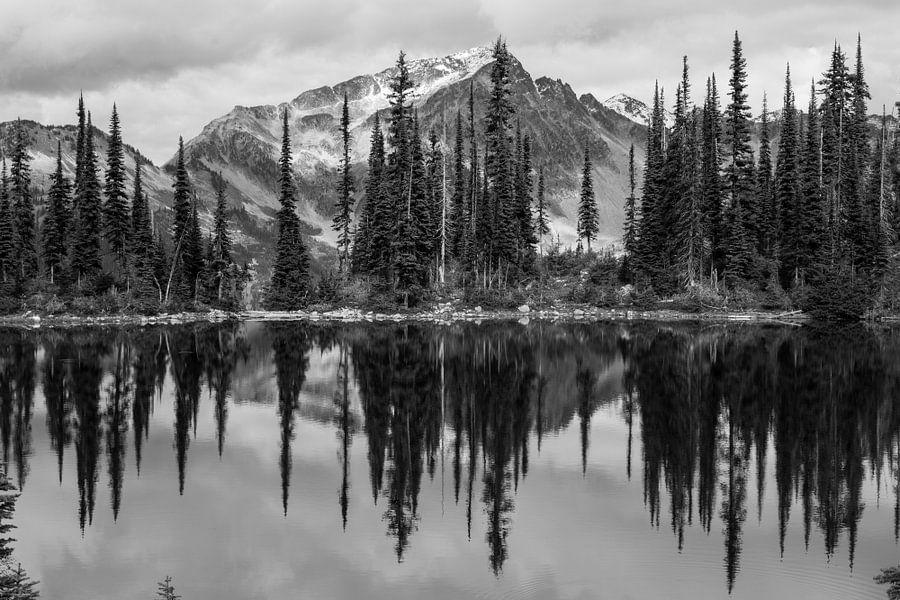 Zwart/Wit weerspiegeling van bergen en bos in Canadees meer van Milou Mouchart