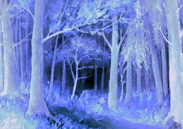 Blauwe Forest - blauwe bos van Christine Nöhmeier