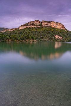 Uitzicht op de bergen bij Lac de Coiselet in de Jura, Frankrijk van Vincent Alkema